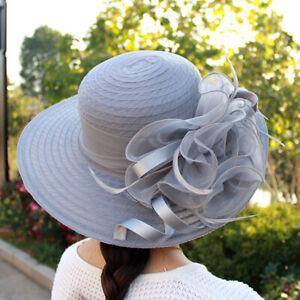 Women's Organza Floral Multi-color Wide Brim Kentucky Derby Church Dress Sun Hat