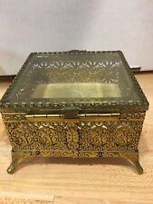 Vtg Ornate Gilt Brass Bevel Glass Jewelry Box Casket Display Filigree Velvet