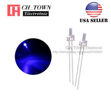 100pcs 2mm LED Diodes Water Clear Purple/UV Light Flat Top Ultra Violet USA