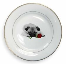 Pug (B+W Photo) with Red Rose Gold Rim Plate in Gift Box Christmas P, AD-P92R2PL