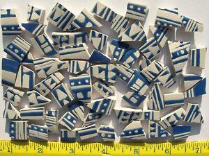 Blue & White Lines, Dots & Abstract Shape Tiles Broken Cut China Mosaic Tiles