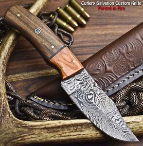 Hand Made Damascus Steel Blade Hunting Knife   WALNUT WOOD