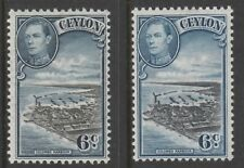 Ceylon 5537 - 1938 KG6 6c Colombo Harbour TWO GOOD SHADES  unmounted mint