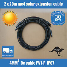 2 X 20 Meter 4mm2 MC4 Solar Panel Extension Cable Male-Female Connectors