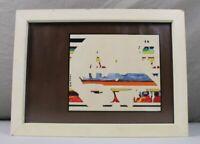 A4/ gemalt,Holzschnitt o.ä. - moderne Kunst - signiert J. Noerz 84 - gerahmt 361