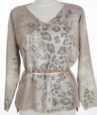 MALVIN Pullover Gr. 40 Beige Damen Oberteil Strick Knit Pulli mit Wolle