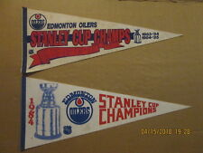 NHL Edmonton Oilers Vintage Stanley Cup Champs 83-84 84-85 & a 1984 Pennants