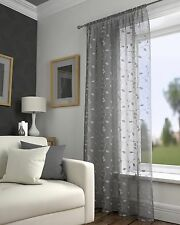 Harrogate Leaf Floral Grey Slot Top Voile Net Curtain Panel 55 Wide X 48 Drop