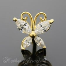 14K YELLOW GOLD IP SIMULATED DIAMOND BUTTERFLY CARTILAGE TRAGUS HELIX STUD