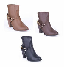 Unbranded Synthetic Leather Block Heel Ankle Boots for Women