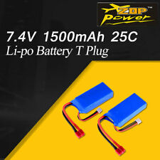 2PCS ZOP Power 1500mAh 7.4V 25C 2S Lipo Battery T Plug For Wltoys 12423 RC Car