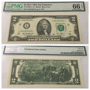 VINTAGE pmg 66 EPQ $2 STAR 2013 FEDERAL RESERVE NOTE SAN FRANCISCO L TWO DOLLARS