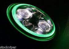 "7"" MOTORCYCLE BLACK GREEN HALO PROJECTOR DAYMAKER LED LIGHT HEADLIGHT for Harley"