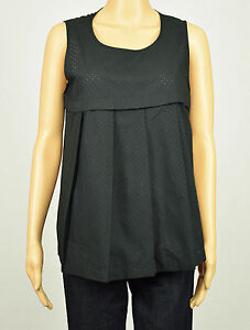 Anne Klein Womens Black Sleeveless Perforated Pin-Dot Pleated Tank Blouse Top 10