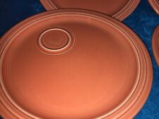 "SET OF 4 FIESTA HOMER LAUGHLIN ORANGE 10 1/2"" WELLED SNACK PLATES LEAD FREE"