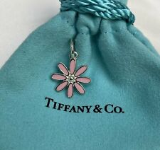 $260 Tiffany & Co. Sterling Silver 925 Pink Enamel Daisy Flower Charm with Pouch
