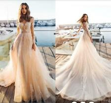Summer 2019 Beach Wedding Dress Lace Applique Long Sleeve Tulle Bridal Gown Size
