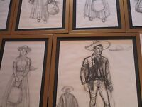 JOHN JENSEN DRAWING SKETCH LOT COLLECTION LISTED AMERICAN WESTERN PORTRAIT OLD