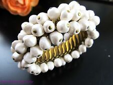 Fun Vtg BERGERE Expansion ChaCha Bracelet w/Baroque Pearl Glass Beads