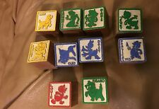 10 Vintage Disney Wood Picture and Alphabet Letter Building Blocks -UNUSED
