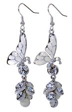 Swarovski Elements Crystal Butterfly Pierced Earrings Rhodium Plated New 7186b