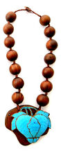 Qing Dynasty Kingfisher feather Necklace Wood Antique VINTAGE  19th Century
