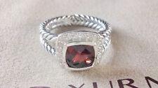 David Yurman Petite Albion Ring with red garnet and Diamonds, ring size 8