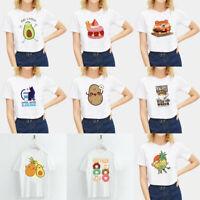 Women Harajuku Print Food Pattern T shirt Casual Short Sleeve Crew NeckTee