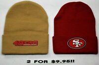 READ LISTING! San Francisco 49ers HEAT SET Flat Logos on 2 Beanie Knit Cap hat