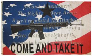 3x5 Come & Take It USA 2nd Amendment NRA Gun Watermark With Writing RWB Flag 5x3