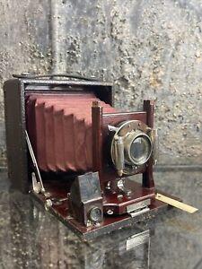 RARE Antique Premo Pony No.3 Folding View Camera Red Bellows Eastman Kodak