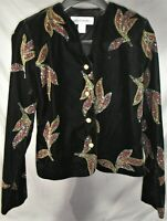 Womens 6 Norton McNaughton Glittery Sparkly Black Velvet Jacket Blazer - EUC