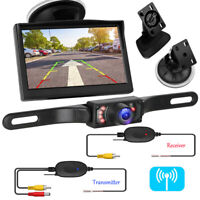 5'' Car Rear View Monitor Wireless Backup License Plate Reverse Camera Parking