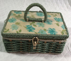Vintage Dritz Woven Green Sewing Box Basket Filled Japan Buttons Thread Needles