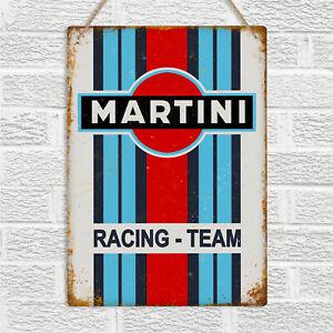 MARTINI RACING Team Vintage Retro Style Metal Wall Sign Plaque Garage Man Cave