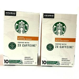 2 Boxes Starbucks Plus Coffee Medium Roast 2X Caffeine Keurig K Cups 10/2020