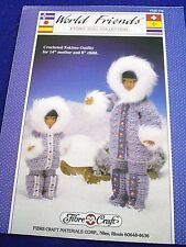 Vintage 80S Craft World Friends Crochet Eskimo Out Fit Mother&Child Leaflet
