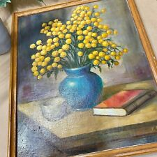 Vintage Oil Painting, Floral Still Life, Yellow Blue, Book Cup, Artwork, Signed