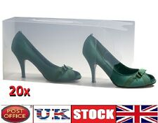 20x Clear Mens Ladies Unisex shoe trainers Boxes Storage Box Organizer stackable
