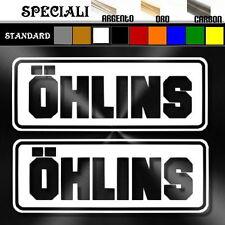 coppia adesivi sponsor sticker OHLINS prespaziato,decal tuning,moto,casco 12cm