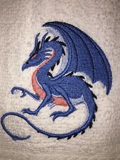 Embroidered Bathroom  Hand Towel- Crouching Blue Peach Dragon HS0897