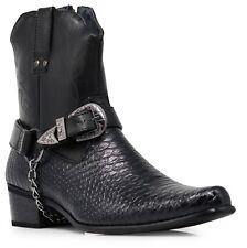 Men Black Cowboy Western Boots Shoes Leather Line Motorcycle Crocodile Print JPN