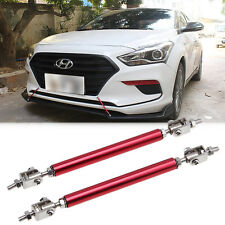 "Pair Red Adjustable Front Bumper Chin Rods Strut Bars Splitters Support 8""-11"""