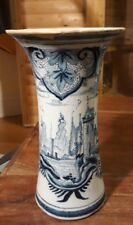 Antique Delft  Blue & White Vase 8 inch tall   Repaired