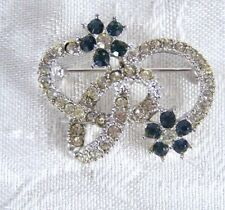 """Blue Floral 1.25"""" Brooch Pin Silver"""