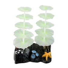 New Green Glowing Artificial Coral Ornament with Base for Aquarium Fish Tank