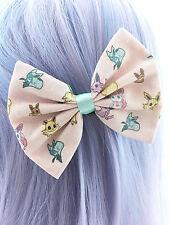 Kawaii Pokemon Eevee Printed Pink Fabric Hair Bow with Mint Ribbon - Geeky Clip