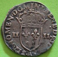 FRANCE 1/4 ECU CHARLES X 1590 A