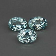 3.90 Cts 8x6mm 3pcs Natural Unheated Light Blue AQUAMARINE Jewelry Setting Clean