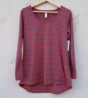 NWT Lularoe Womens Stretch Lynnae T Shirt Top Tee Size Small Red Green Striped